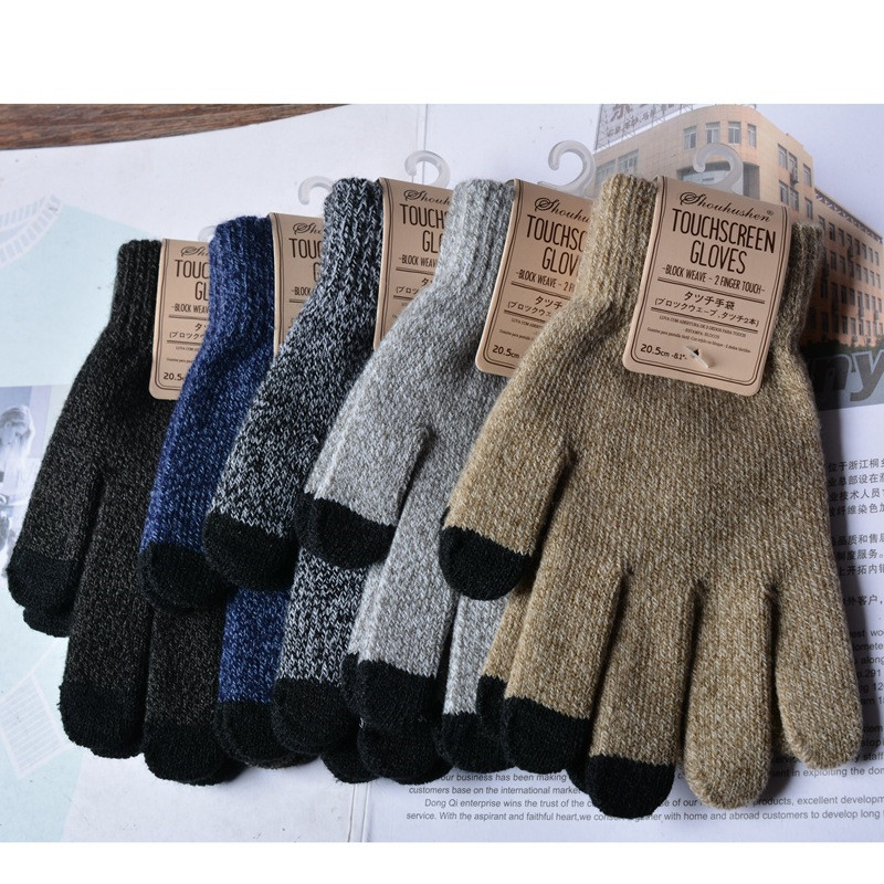 Acrylic Jacquard Knit Screen Touch Keep Warm Non-skid Thick Fashion Winter Adult Woman Gloves Mittens Accessories-DQC