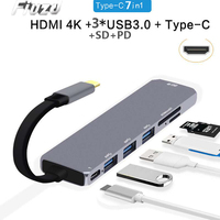 Fiuzd 7in 1 USB C Laptop Docking Station USB 3.0 HDMI RJ45 Gigabit SD Audio Fealushon for MacBook Samsung s10+ Huawei p30 20