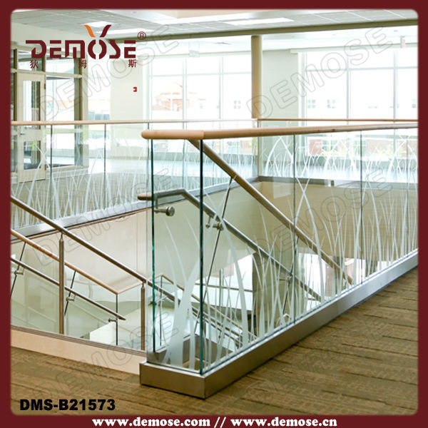 modern frosted glass railing for stair and balcony on