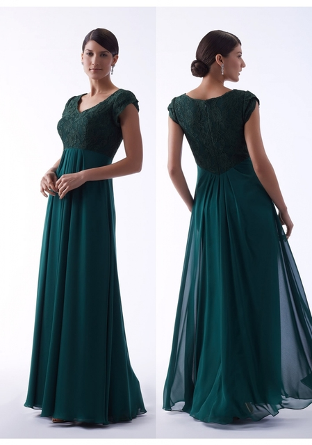 3af85fb2ea US $92.4 30% OFF|Dark Green 2019 Long Modest Bridesmaid Dresses With Cap  Sleeves Lace top Chiffon A line Summer Wedding Party Dresses Cheap-in ...
