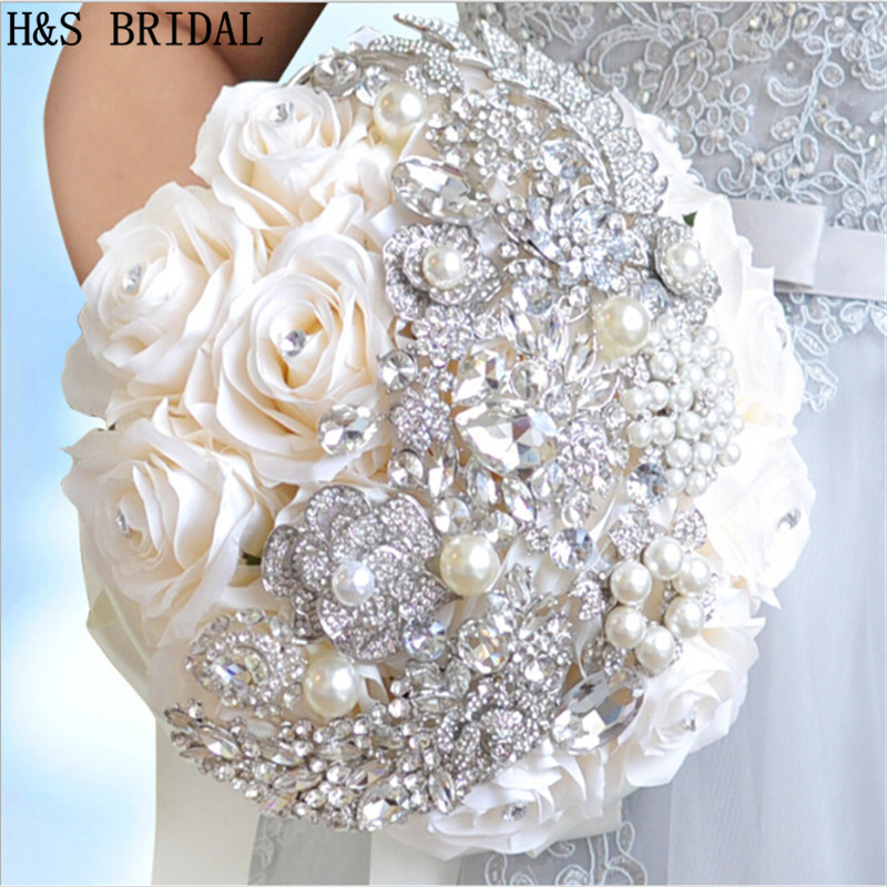 Ivory Purple Hand Made Elegant Decorative Artificial Rose Flower Rhinestone Bride Bridesmaid With Crystal Wedding Bouquet Flower