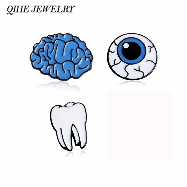 QIHE QH-MONILI Del Fumetto Sveglio Del Cervello Occhio Dente Spilla In Metallo Pin Button Pins Ragazza Regalo Gioielli di Moda All'ingrosso