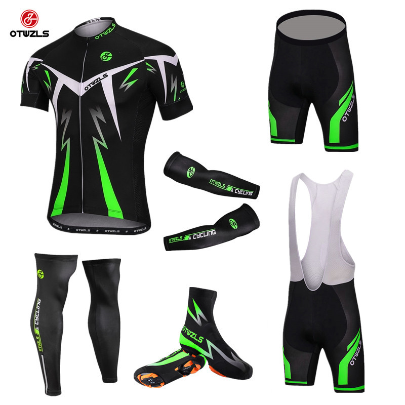 OTWZLS Pro Team Short Sleeve Cycling Jersey Sets Men Mtb Bike Bicycle Gel Padded shoe cover arm sleeves leg sleeves warmer men s slimming collarless bus printing short sleeves