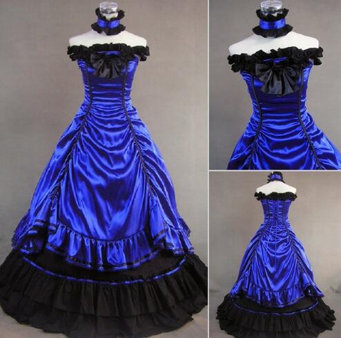 Alice My Fetish Store Can Be Custom 2015 Sweet Blue/Black Sleeveless Floor-Length Gothic Victorian Lolita Dresses Drop Shipping