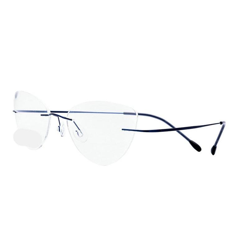 0397e2cecb1 Titanium Ultra light No Screw Cat Eye Rimless Prescription Glasses Frame  Women Eyeglasses Myopia Optical Frames ...