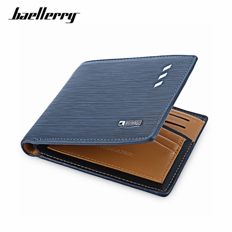 2017 fashion men short wallets  dollar price Male leather business money purses credit card photo holder wallet K029 2016 new hot sell men wallets hasp short solid color mini wallet male waist hook design dollar price photo holder