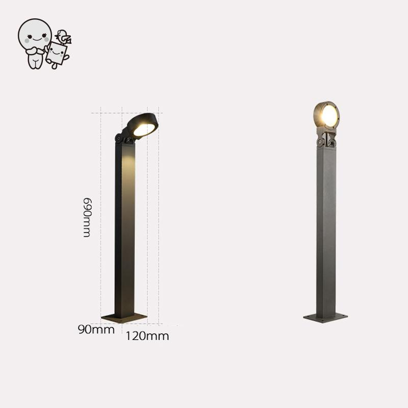 Outdoor Gray Aluminum Adjustable COB LED Lawn Lamp Fixture Waterproof Art Decorative Tall Ground Standing Light Designer 220V
