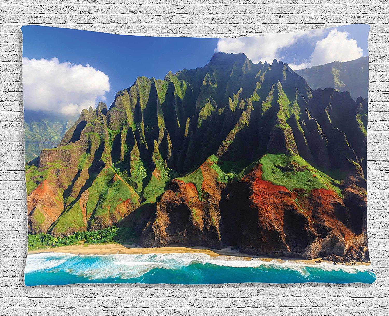Hawaiian Decor Tapestry Aerial View of Na Pali Coast Kauai