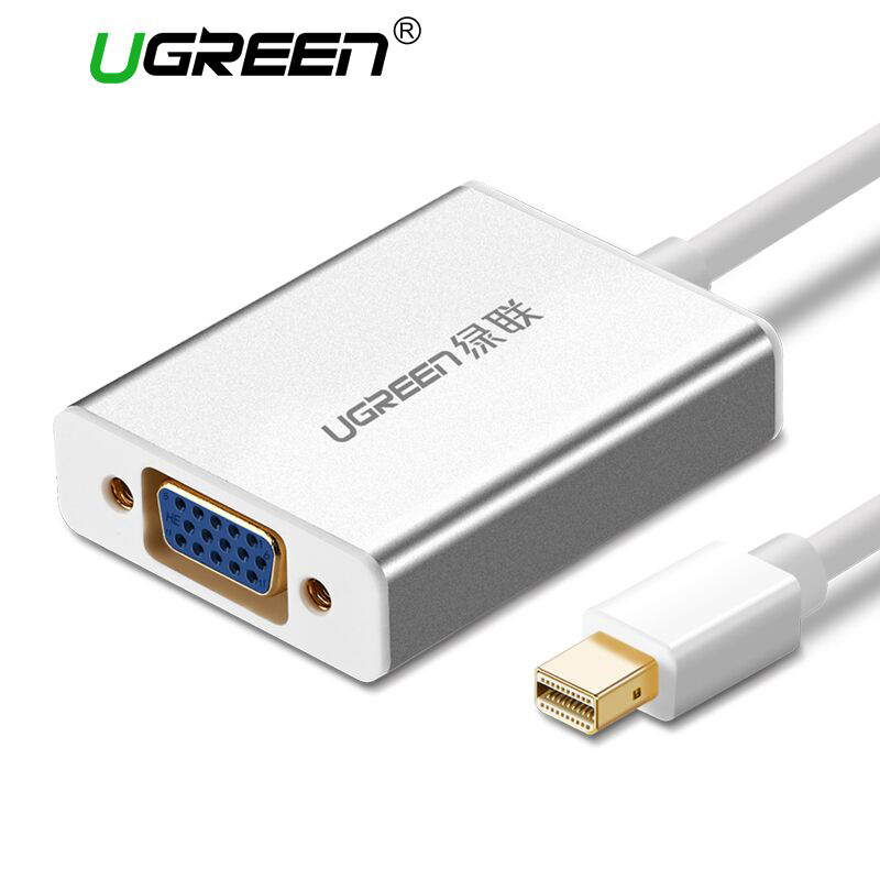 Ugreen Thunderbolt 1/2 Mini DisplayPort DP To VGA Adapter Cable Mini DP Male to VGA Female Converter for Apple MacBook Air Pro vention thunderbolt hdmi vga 4k 2 in 1 mini displayport to hdmi vga adapter cable for apple macbook pro imac mac hdtv projector