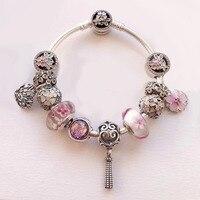 Розовый цвет серии красивый цветок двенадцать Подвески объединить 925 пробы Серебряное сердце медальон Шарм браслет для девочек
