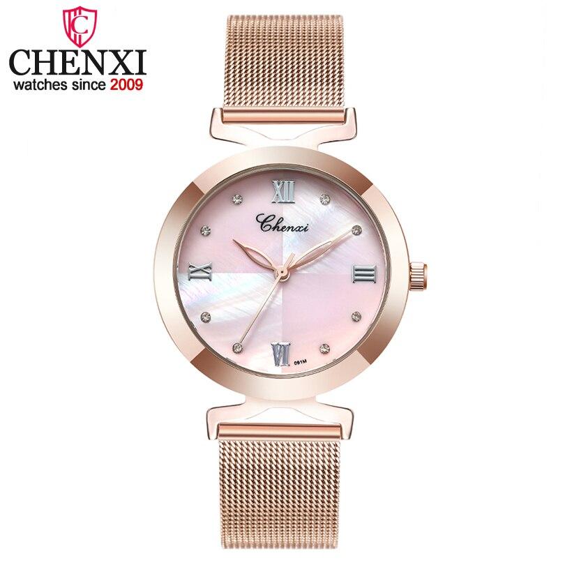 CHENXI Luxo Mulheres Vestido relógios Completa Aço ou Couro de Malha Pulseira Relógio de Quartzo Das Senhoras Relógios De Pulso Das Mulheres relojes mujer