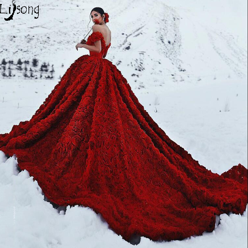 Gorgeous Dark Red 3D Flowers Pleated Ball Gowns Formal Dress For Party Custom Made High Quality Bridal Unique Evening Maxi Gowns