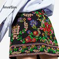 Imvation Ladys 2017 Хлопок вышивка мини-юбки Печати Высокой Талии Юбка Осень Зима Юбка bodycon-Line юбка шорты