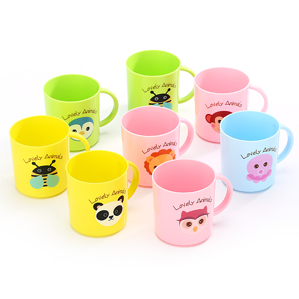 1Pcs 250ml Kids Children Infant Baby Milk Cup With Handle Breakfast Mug Drink Home Cup Yellow/Blue/Green/Pink Random Cartoon