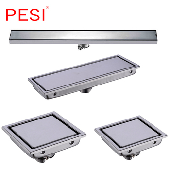 304 Stainless Steel 60/30/15/11cm Linear Anti-odor Long Floor Drain Bathroom Invisible Shower Floor Drain, Wholesale, Polished.