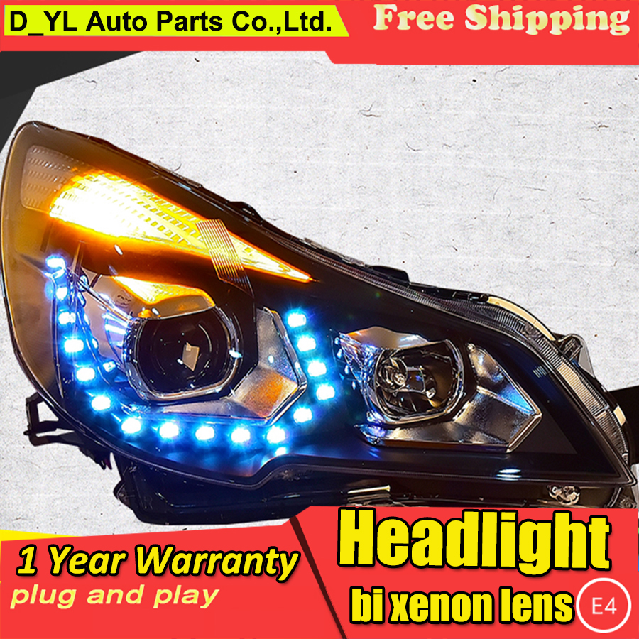 Auto part styling for subaru outback headlights drl 2010 2016 led light bar angel eye