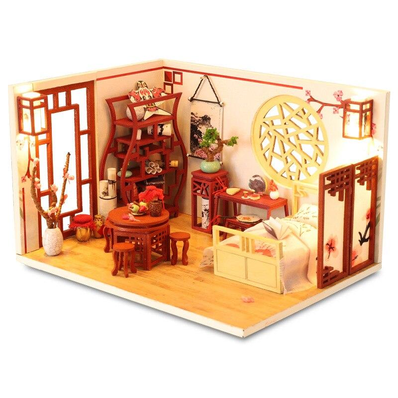 Crianças brinquedos diy casa de bonecas montar miniaturas de madeira móveis de casa de boneca em miniatura quebra-cabeça brinquedos educativos para crianças