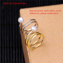 100% 925 Sterling Silver Pearl Rings Simple Shiny Open Ring for Women Unique Jewelry