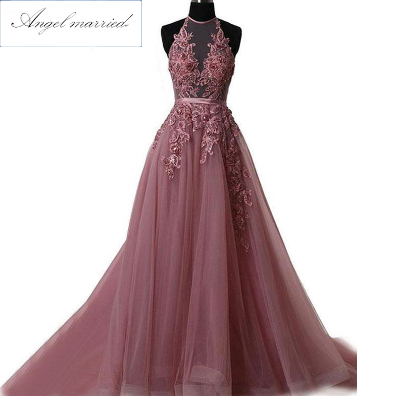 Angel married long   prom     dresses   elegant halter appliques lace beading tulle evening   dress   2019 pageant gown vestido de festa