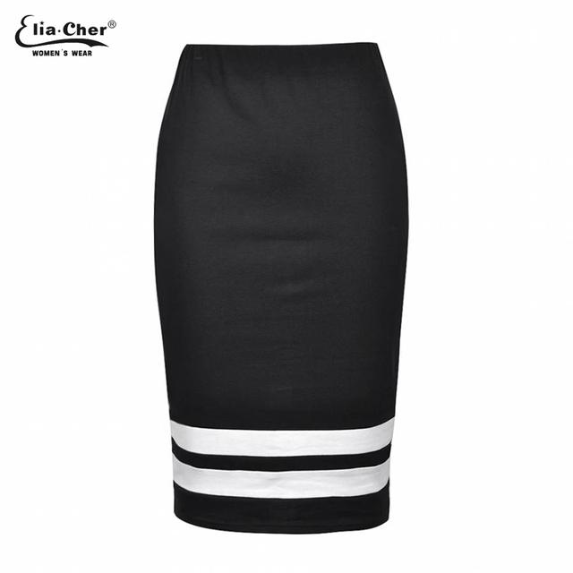 Faldas de Rayas Blanco y Negro Lápiz Faldas Eliacher Brand Plus Tamaño Casual Ropa Chic Elegante Sexy Falda de La Señora