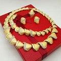 2016 de La Moda de Perlas Africanas Joyería Conjunto Dubai Chapado En Oro de Joyería Set Pendientes Pulsera Anillos Largo Collar de Partido de Las Mujeres
