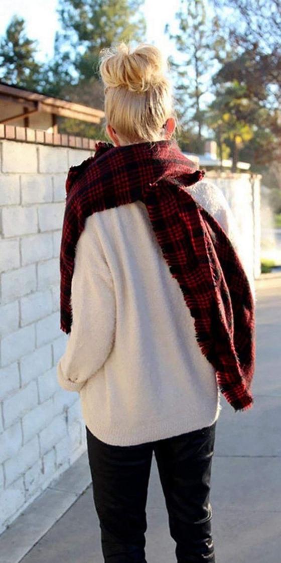 MYTL-Wool Blend Tartan Plaid Soft   Scarf     Wrap   Shawl Blanket Stole Pashmina Red+Black