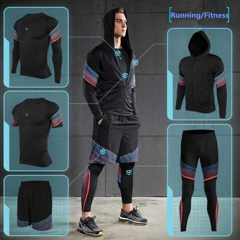 Vansydical 2019 тренажерный зал работает комплекты Для Мужчин s Фитнес  компрессионные колготки спортивной Эластичный Обучение Спортивная одежда 33c272ddd8d