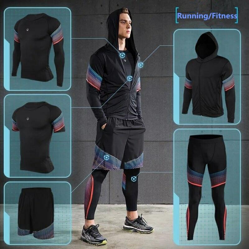 Vansydical 2019 ensembles de course pour hommes collants de Compression de Fitness vêtements de sport extensible vêtements de sport d'entraînement Jogging costumes 5 pièces - 2