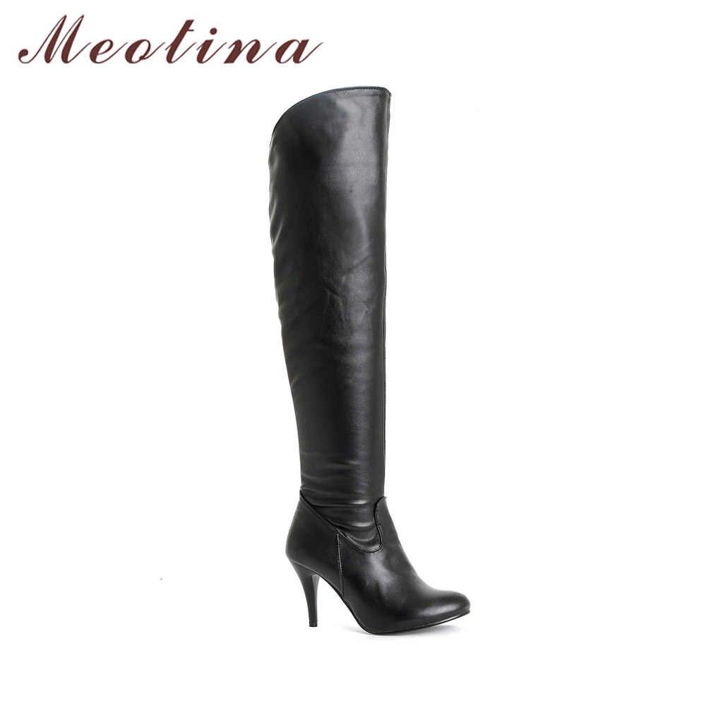 Meotina Kadın Botları Yüksek Topuklu Uyluk Yüksek Çizmeler Kış Diz Çizmeler Üzerinde Seksi Bayan Sonbahar Ayakkabı Siyah beyaz ayakkabı Büyük boy 10 43