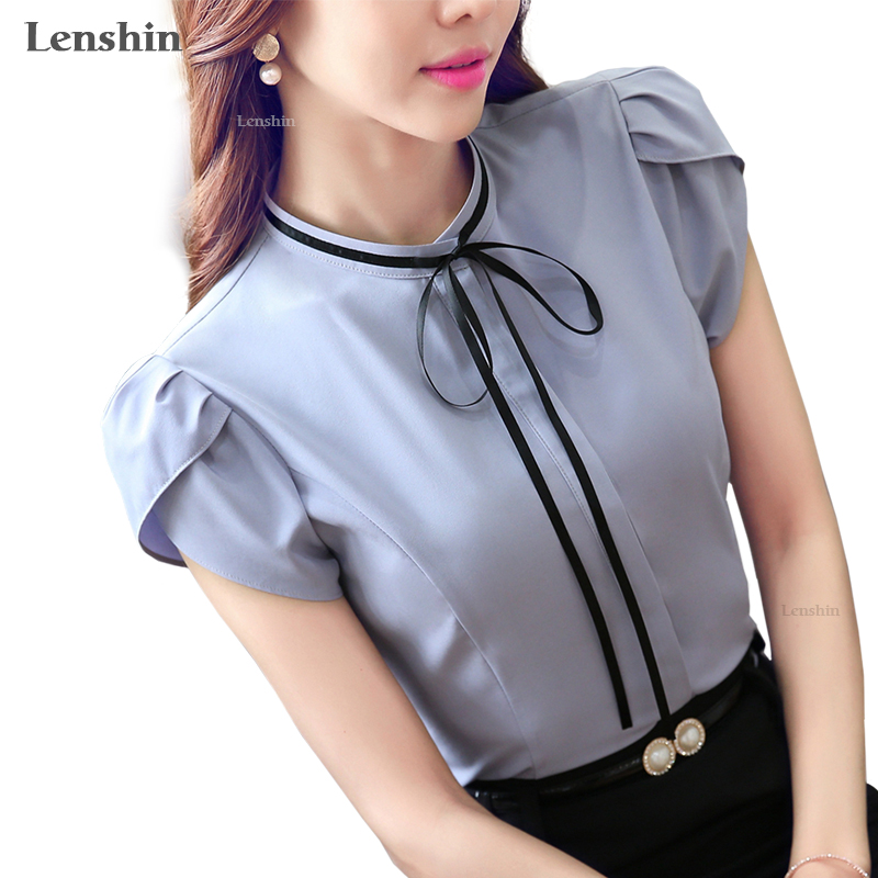 Lenshin o-neck petal sleeve bow shirt Gray blouse female elegant short sleeve women wear casual top ladies Style design