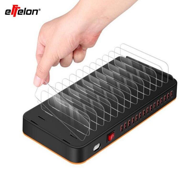 Effelon universel 15 ports USB chargeur rapide Charge USB chargeur mural 5 V 20A tablette PC ordinateur chargeur de bureau adaptateur AC 100-240 V