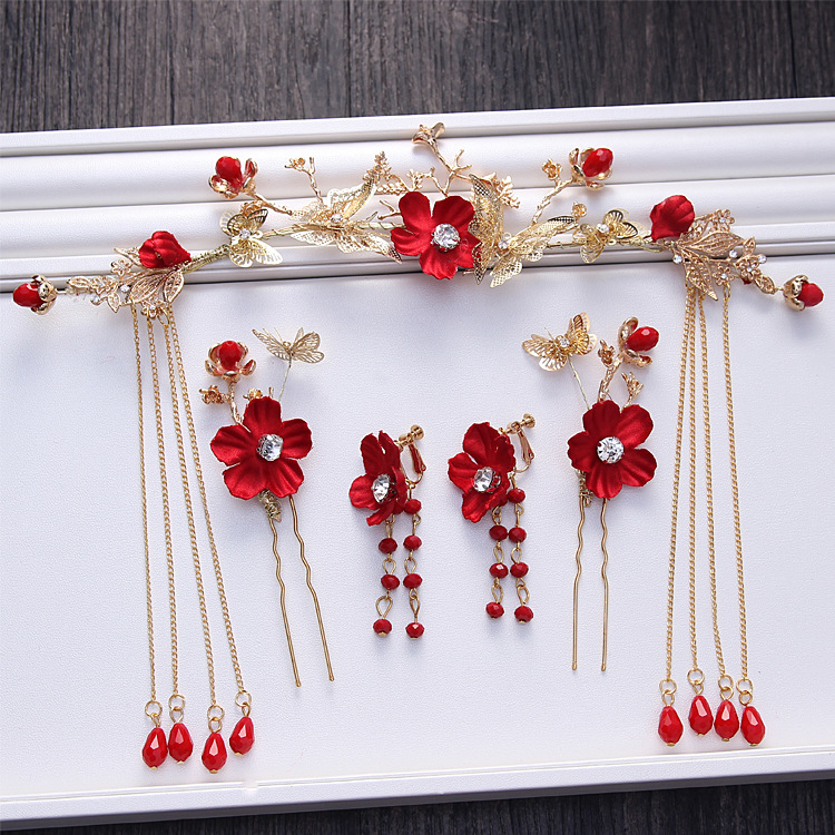 Chinese bride costume headdress gold red flower tassel hair hoop hairpin earrings suit wedding dress accessories AQ2174