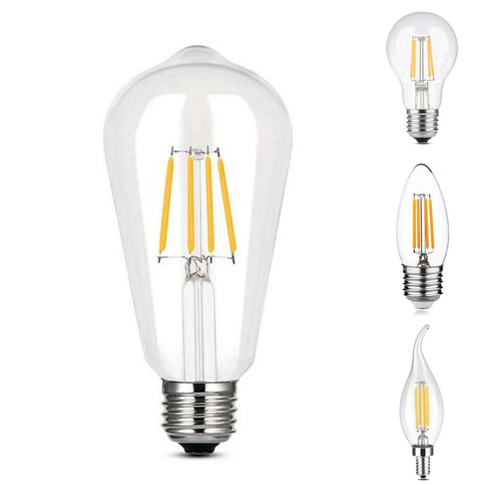 Edison Led Bulb E27/E14 Vintage Light Bulb 220V 4W  Transparent Glass Bulb Energy Saving Safety Bulb ST64 C35 C35L A60