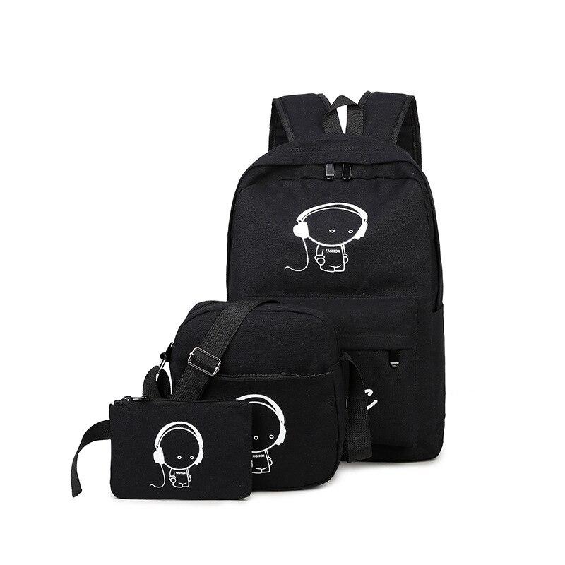 Black 3pcs Set Backpack Women Canvas Backpack Unisex Korean Backpacks Student Rucksack School Bag Noctilucent