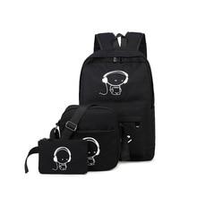 Черный 3 шт. комплект рюкзак Для женщин рюкзак унисекс корейский Рюкзаки Студент Рюкзак Школьная Сумка Серебристые
