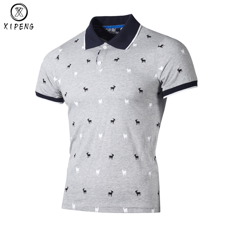 Brand   POLO   Shirt Men 2019 Cotton Fashion Animal Dots Printing Camisa   Polo   Summer Short-sleeve Casual Shirts plus size XXXL