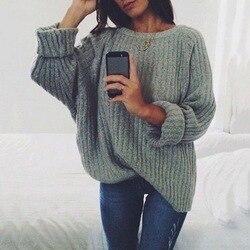 LASPERAL mujeres sólido O cuello tejido suéter 2019 Otoño Invierno moda femenina Jersey suéteres señoras suelta tejido Dropship