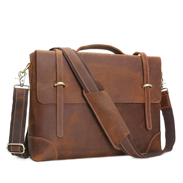 Rockcow Vintage Crazy Horse Leather Laptop Messenger Bag Briefcase Business Men S 0342