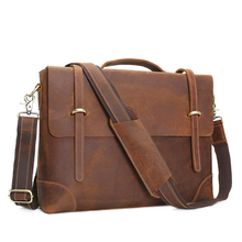 ROCKCOW Vintage Crazy Horse Leather Laptop Messenger Bag, Leather Briefcase Business Men's Bag 0342