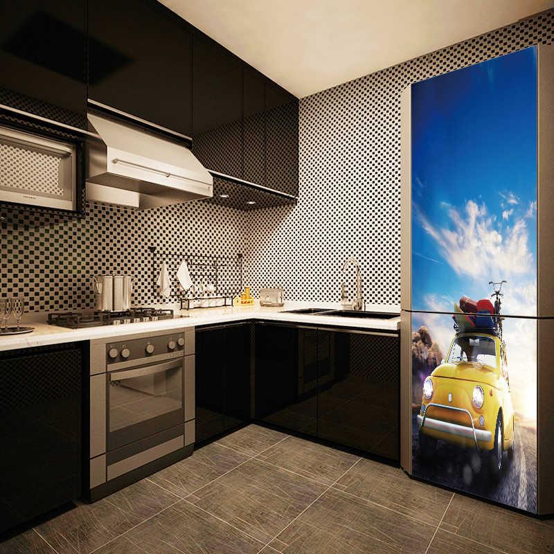 DIY 3D Vivid Car Waterproof Wallpaper SelfAdhesive Refrigerator Sticker Fridge Door Cover wall stickers Home Decor