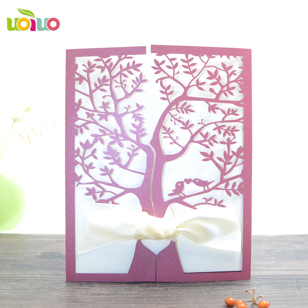 Laser cutting romantic love bird tree wedding invitation card modern ...