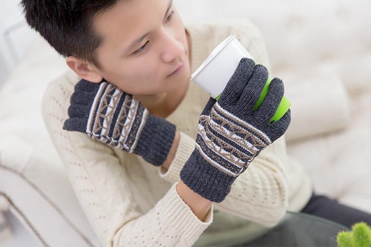 2017 nuevos hombres Unisex lana mitones guantes invierno algodón grueso que hace punto caliente completo dedo guantes s1