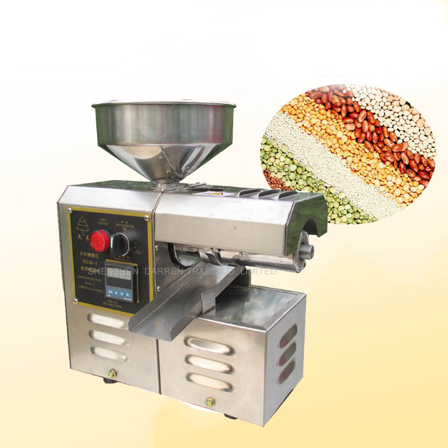 SG30-1 Edible peanut Oil Press Machine,High Oil Extraction Rate Labor Saving, stainless steel Oil Presser for Household jiqi automatic industrial oil press machine press preheat oil presser 220v 110v peanut soybean high extraction rate household
