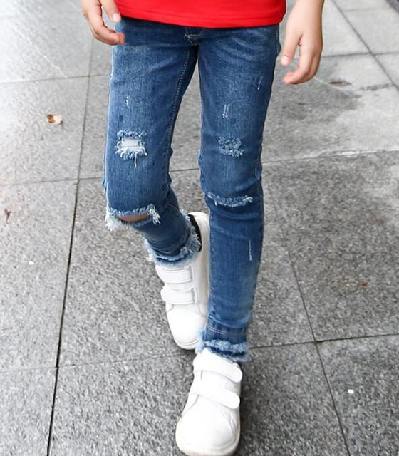 2016 осень детская одежда девушки джинсы твердые тонкий отверстия denim голубая девочка причинные джинсы для девочек большие дети длинные брюк