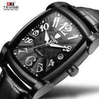 Automatic Mechanical Watch Full Black Men Watch Waterproof Business Wristwatch Mechanical Watches Automatic Wristwatch TEVISE