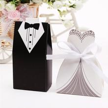 Hot sale New 4000 Pcs Bridal Gift Cases Groom Tuxedo Dress Gown Ribbon Wedding Favor Candy Box