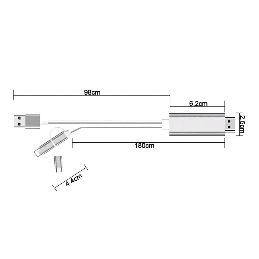Image 5 - USB к HDMI кабель, освещение Micro usb type C к HDMI Plug and Play конвертировать для iPhone iPad Android телефон планшет к HDTV
