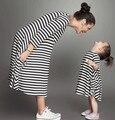 Мода мама и дети пара смотреть полоса платье семья соответствия экипировка одежда платье мать дочь матч платье горячей продажи