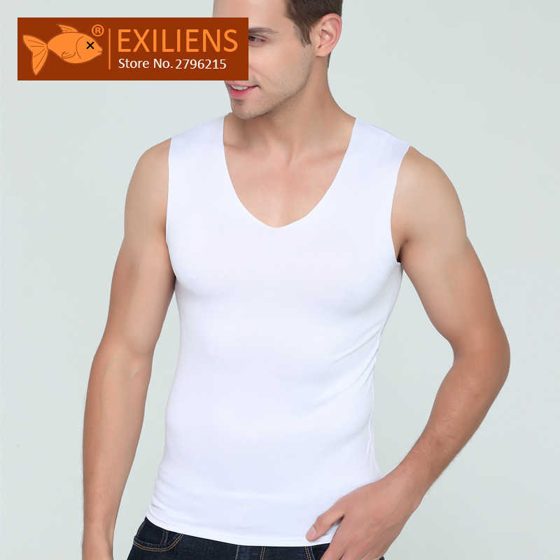 573a4f59f1d Detail Feedback Questions about EXILIENS Men Vest Tank Tops Man Underwear  Mens Sexy Undershirts Ice Silk Fitness V Neck Sleeveless Seamless Size M  3XL Brand ...