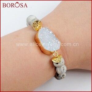 Image 3 - BOROSA 5 ピース新ゴールドカラーチタン Druzy ブレスレット 10 ミリメートルビーズ混合色のブレスレットジュエリーのための宝石バングル女性 G1536